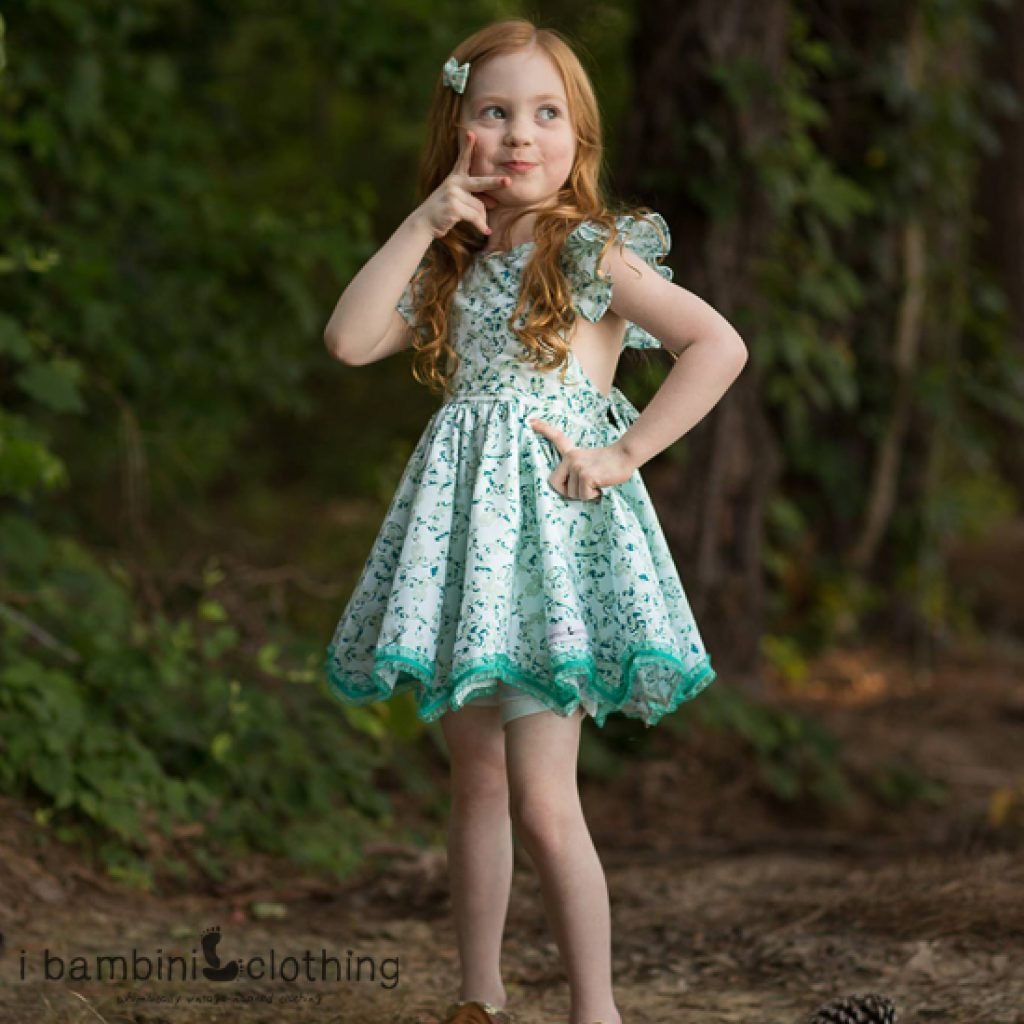 Juliette Dress in Blue Seafoam Baroque